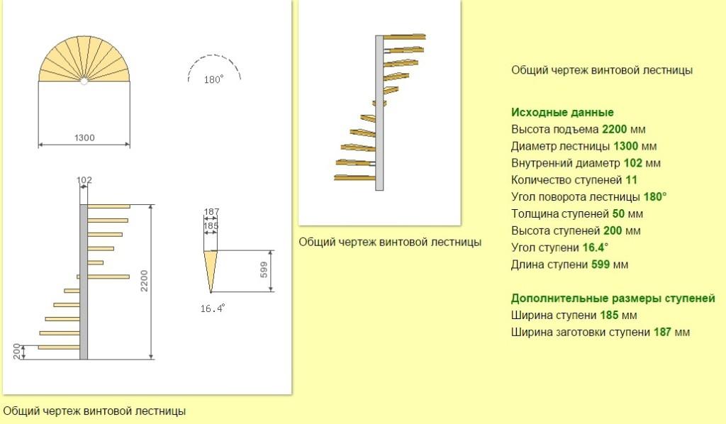 базовый чертёж лестницы