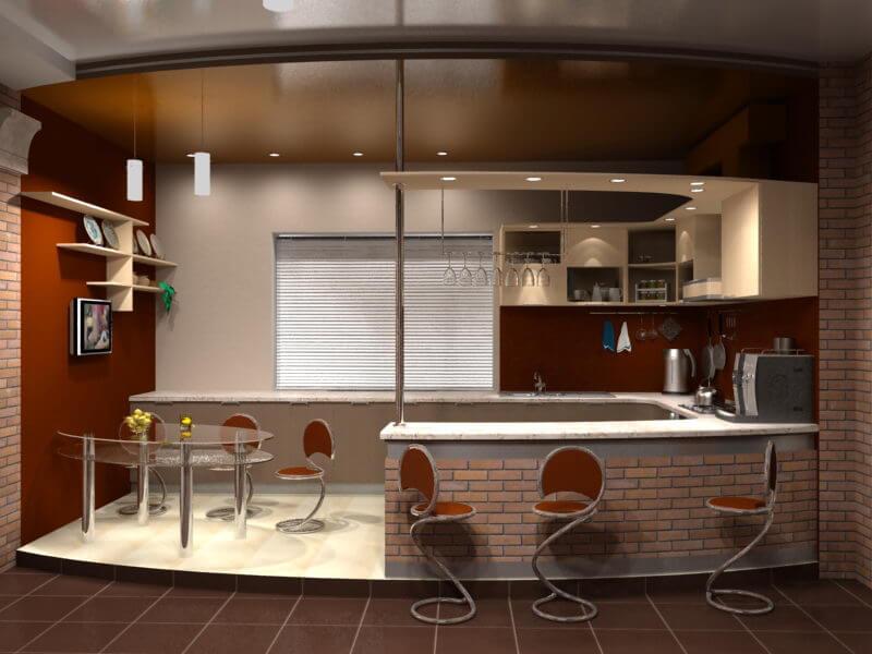 Кухни гостиная с барной стойкой дизайн фото