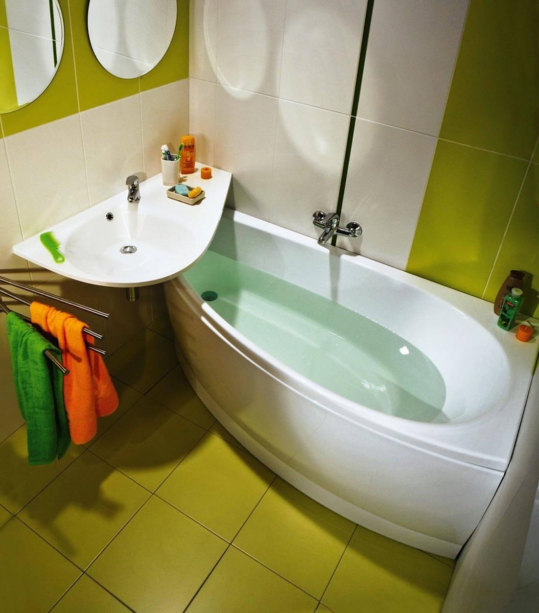 Дизайн угловых маленьких ванных комнат