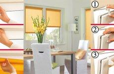 Как повесить рулонные шторы на пластиковые окна без сверления