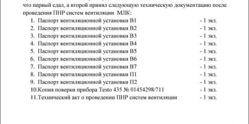 Акт приёма-передачи исполнительной документации