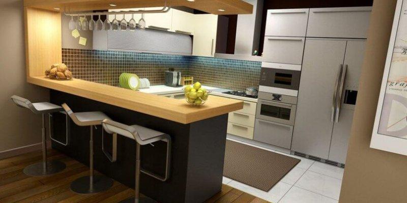 Дизайн кухни совмещенной с гостиной с барной стойкой